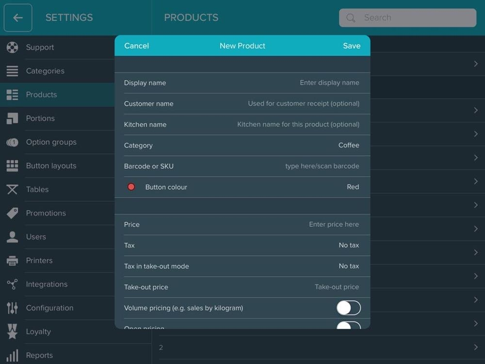 iZettle Pro app - product instellingen