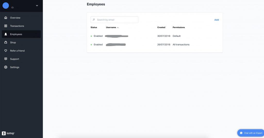SumUp - werknemer instellingen