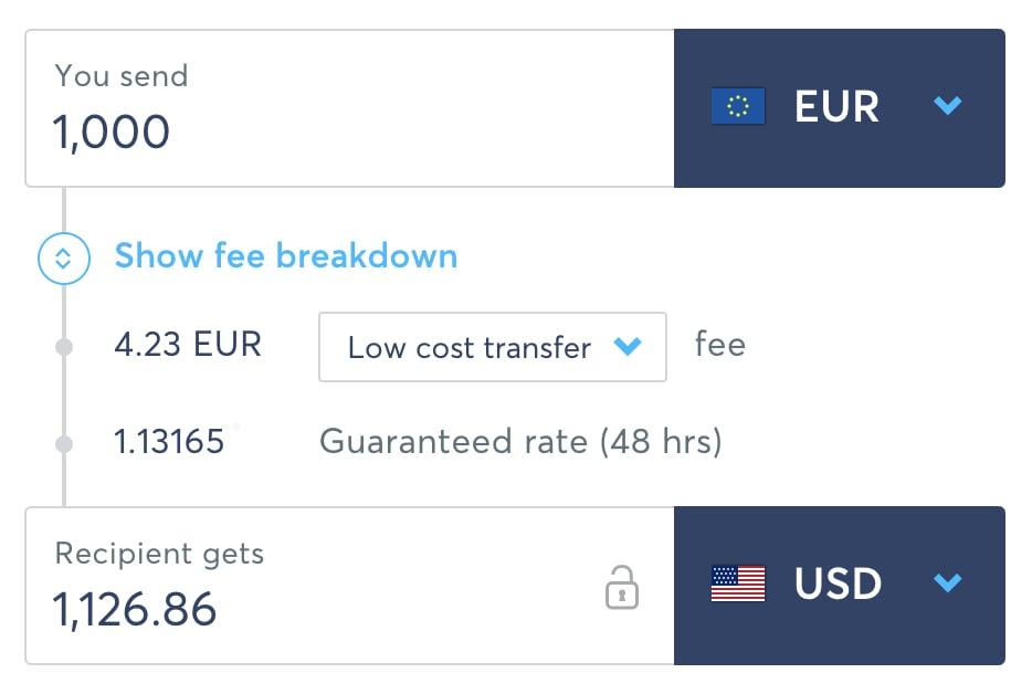 TransferWise conversievoorbeeld