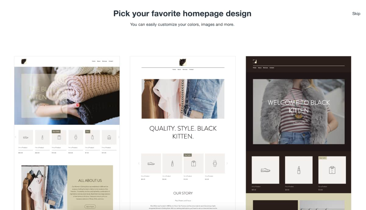 Wix ADI e-commerce templates