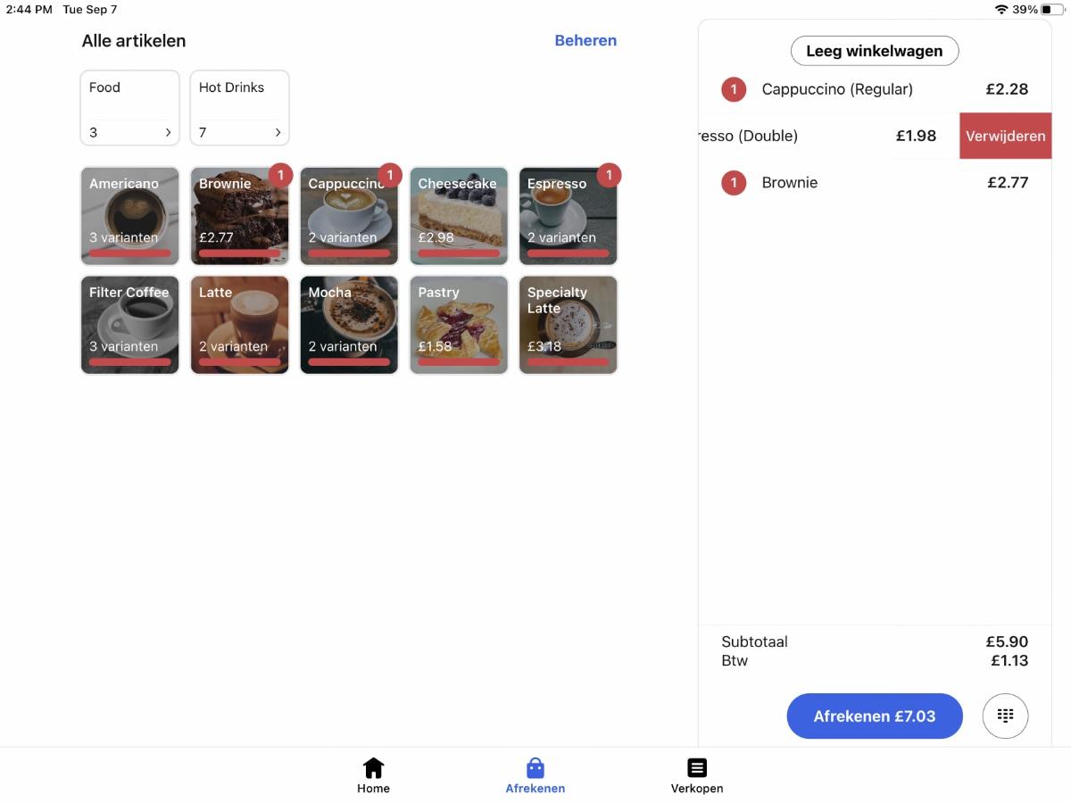 SumUp App afrekenen kassa