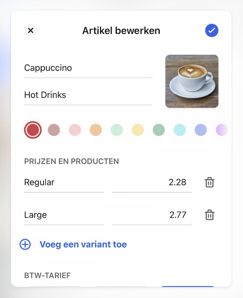 SumUp App productinstellingen